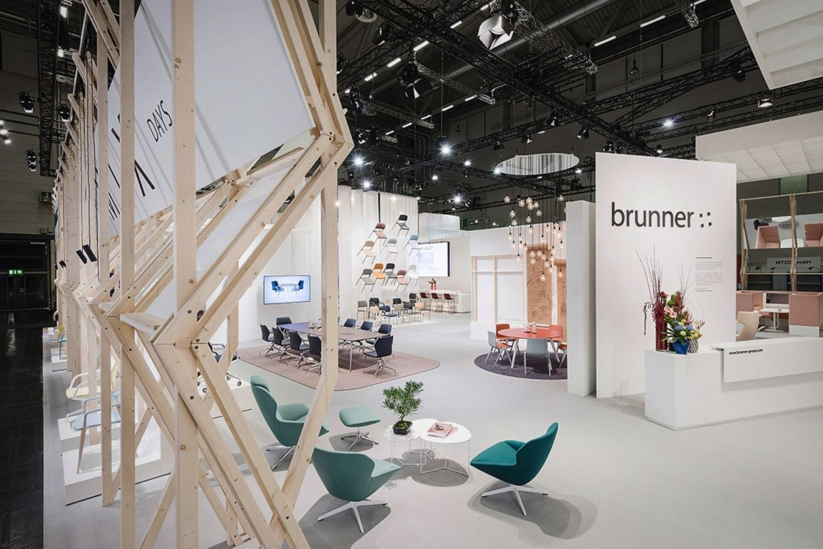 Open style exhibition stand of Brunner in Orgatec 2016 showcasing products in new inviting view and structure arrangement (1)
