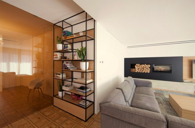 Well positioned book shelf in simple wood steel furniture style (2)