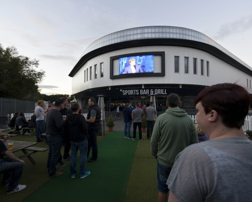 England fans watch the opening world cup game at the brand new Sports Bar and Grill at Ashton Gate Stadium - Mandatory byline: Dougie Allward/JMP - 07966386802 - 18/09/2015 - Sport - Ashton Gate -Bristol,England -  Sports Bar and Grill
