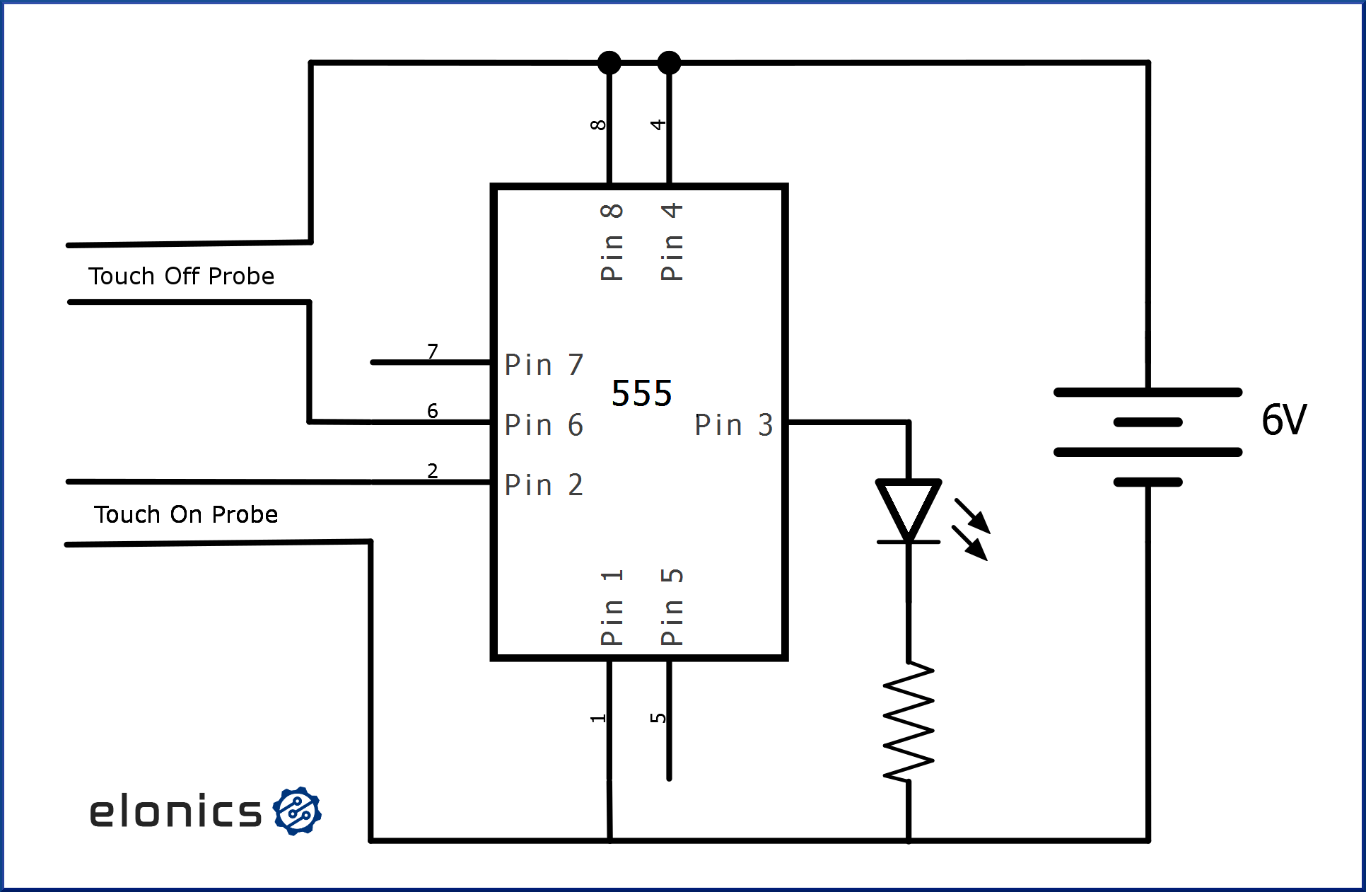 Touch On Touch Off Switch Using 555 Timer Ic
