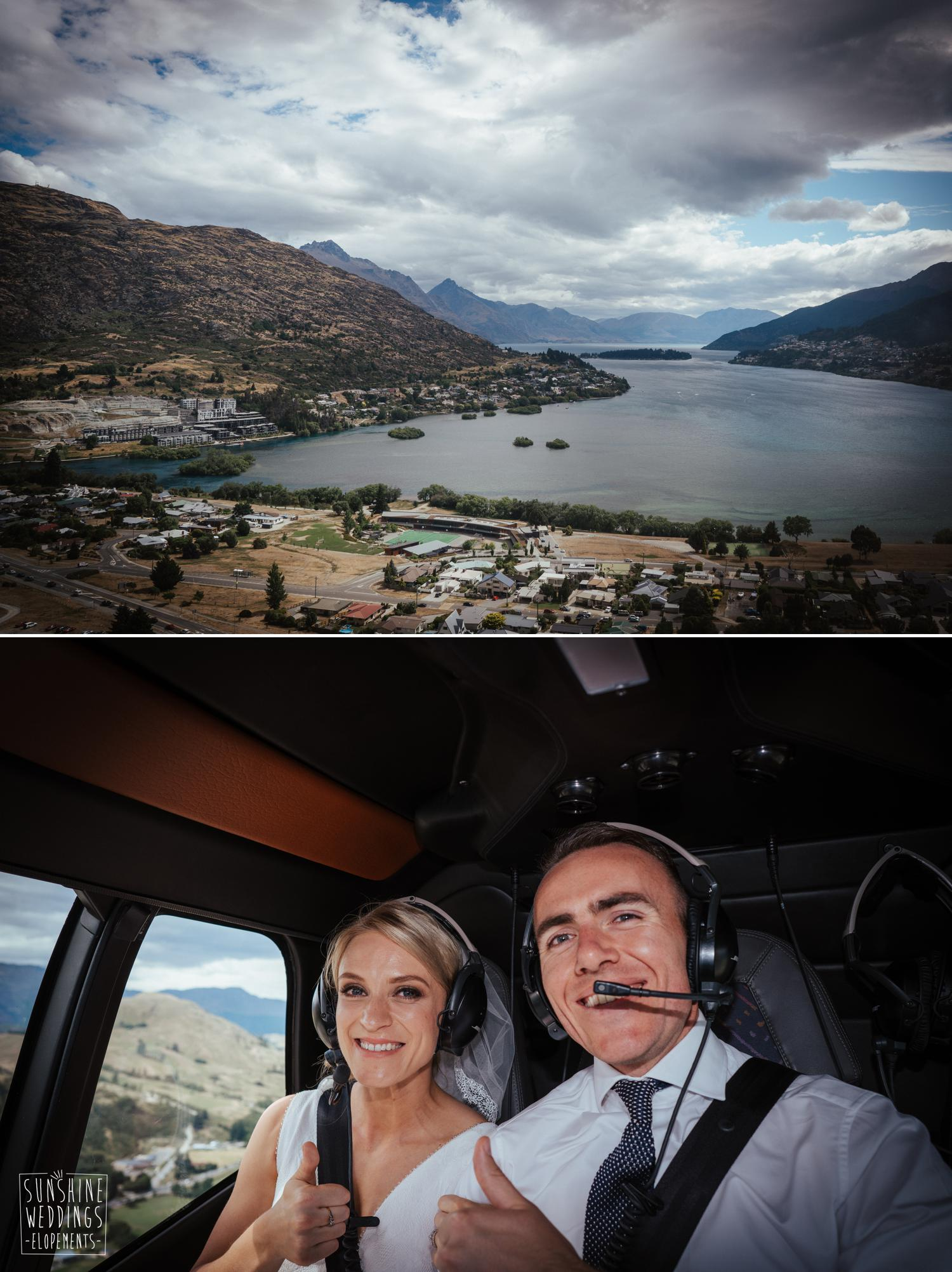 Mountain wedding helicopter