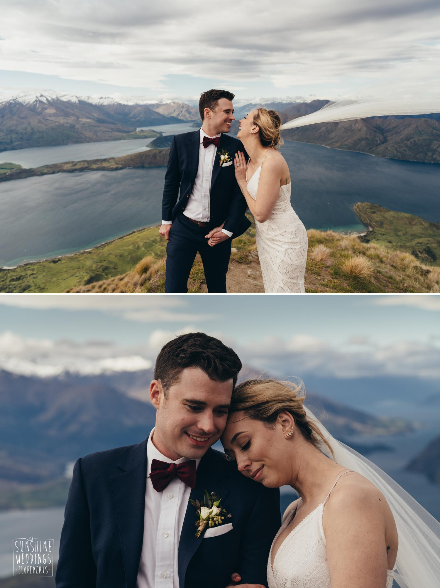 Mount Roy wedding couple, mountain wedding nz