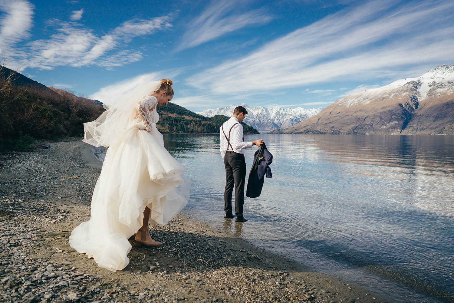 Lake Wakatipu winter wedding, Lakeside wedding ceremony, 12 mile delta Queenstown