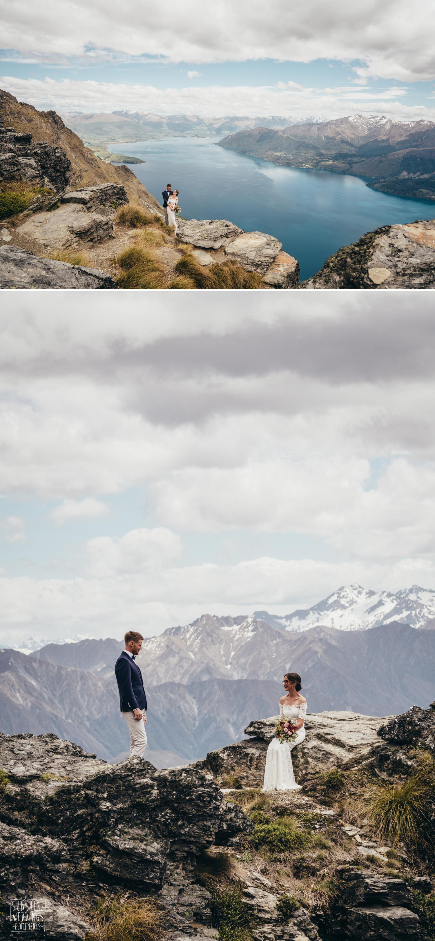 Lake Wakatipu view and wedding couple