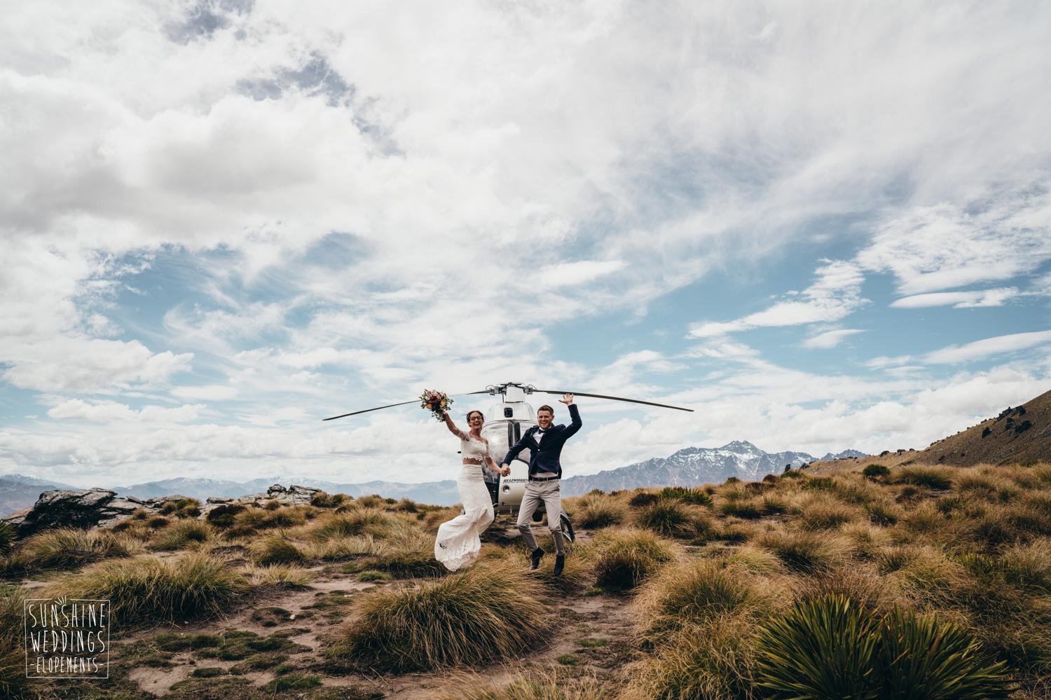 Wedding photo NZ mountain