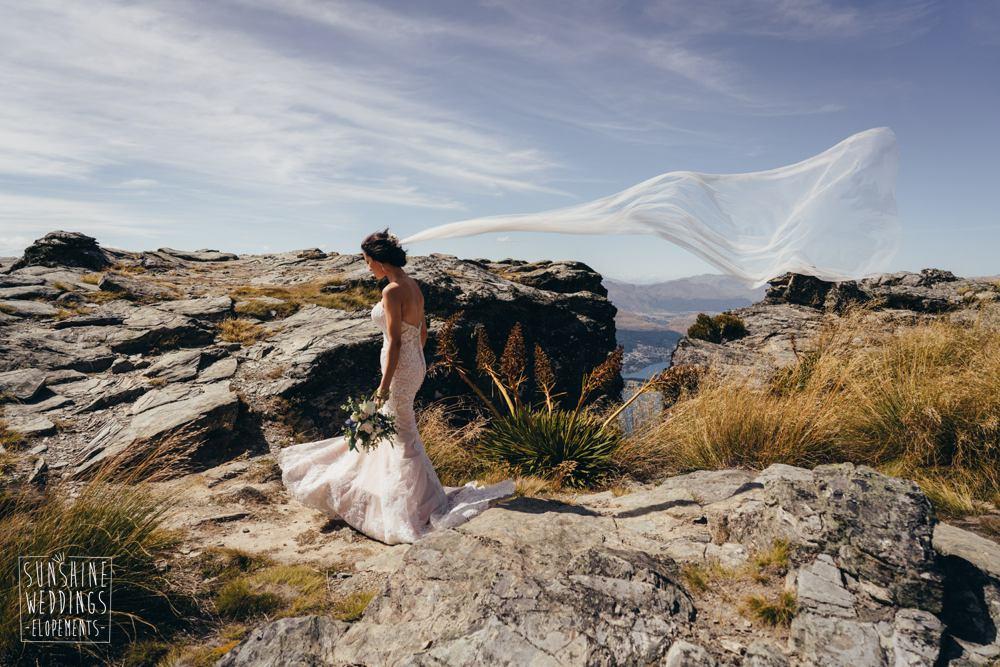 bride veil on Queenstown mountain