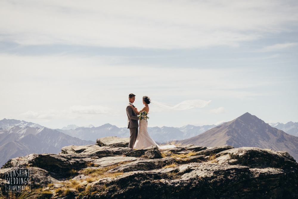 wedding couple on The Ldge. Elopement packages by Sunshine Weddings