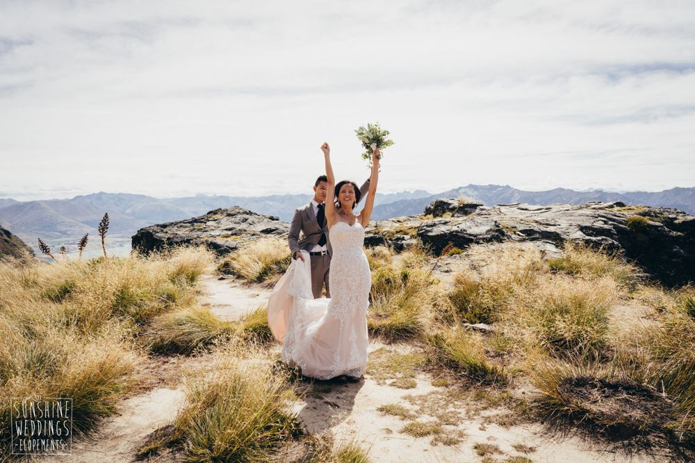 The best Queenstown mountain wedding location / photography by Sunshine Weddings