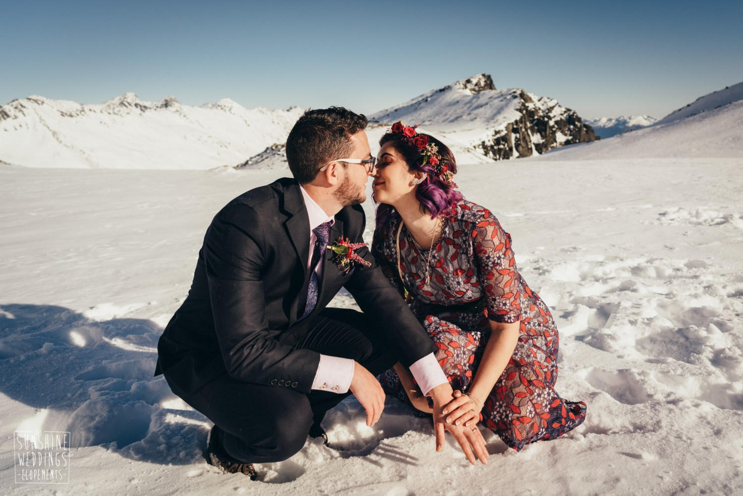 winter elopement wedding on Queenstonw mountain