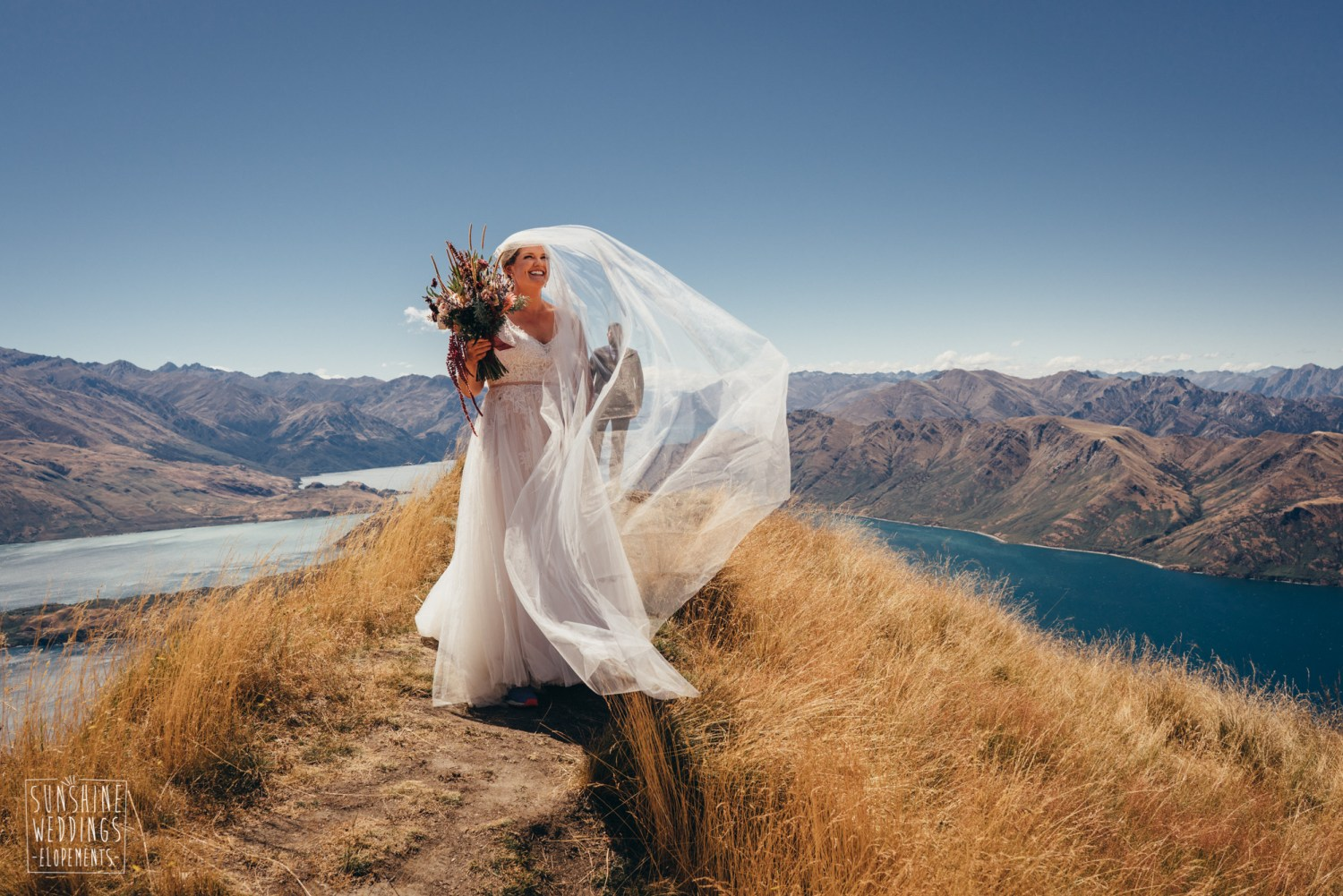 Bride and veil on Coromandel Peak