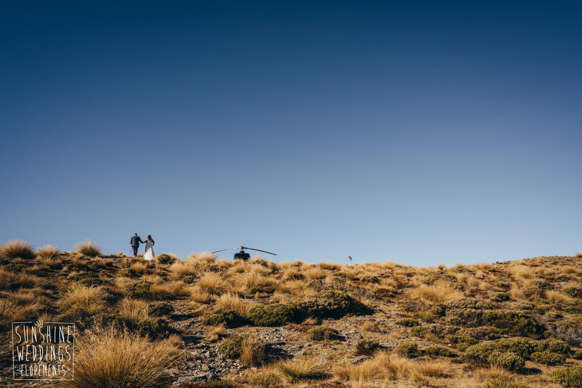 helicopter on mountain wedding nz