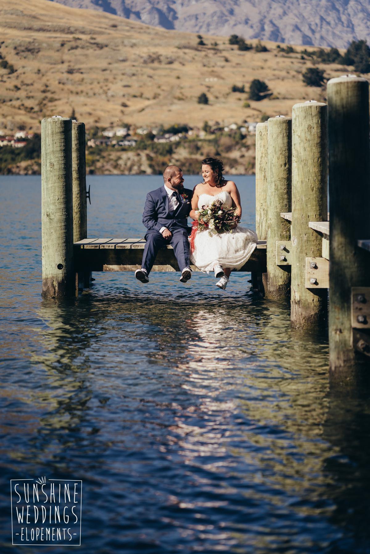 jetty wedding photo by the lake