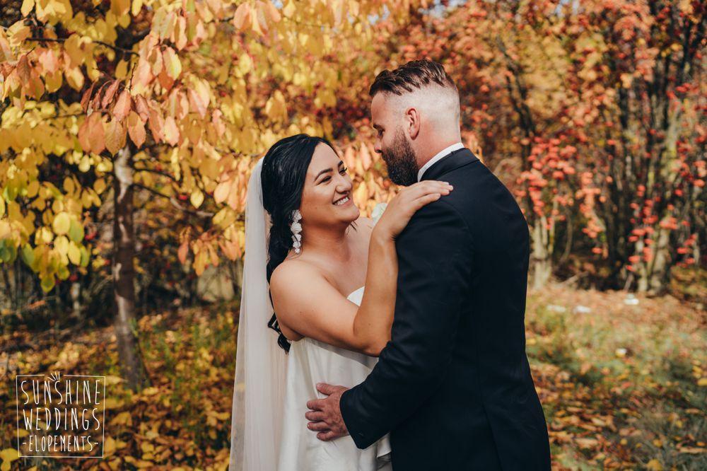 Autumn elopement wedding in New Zealand