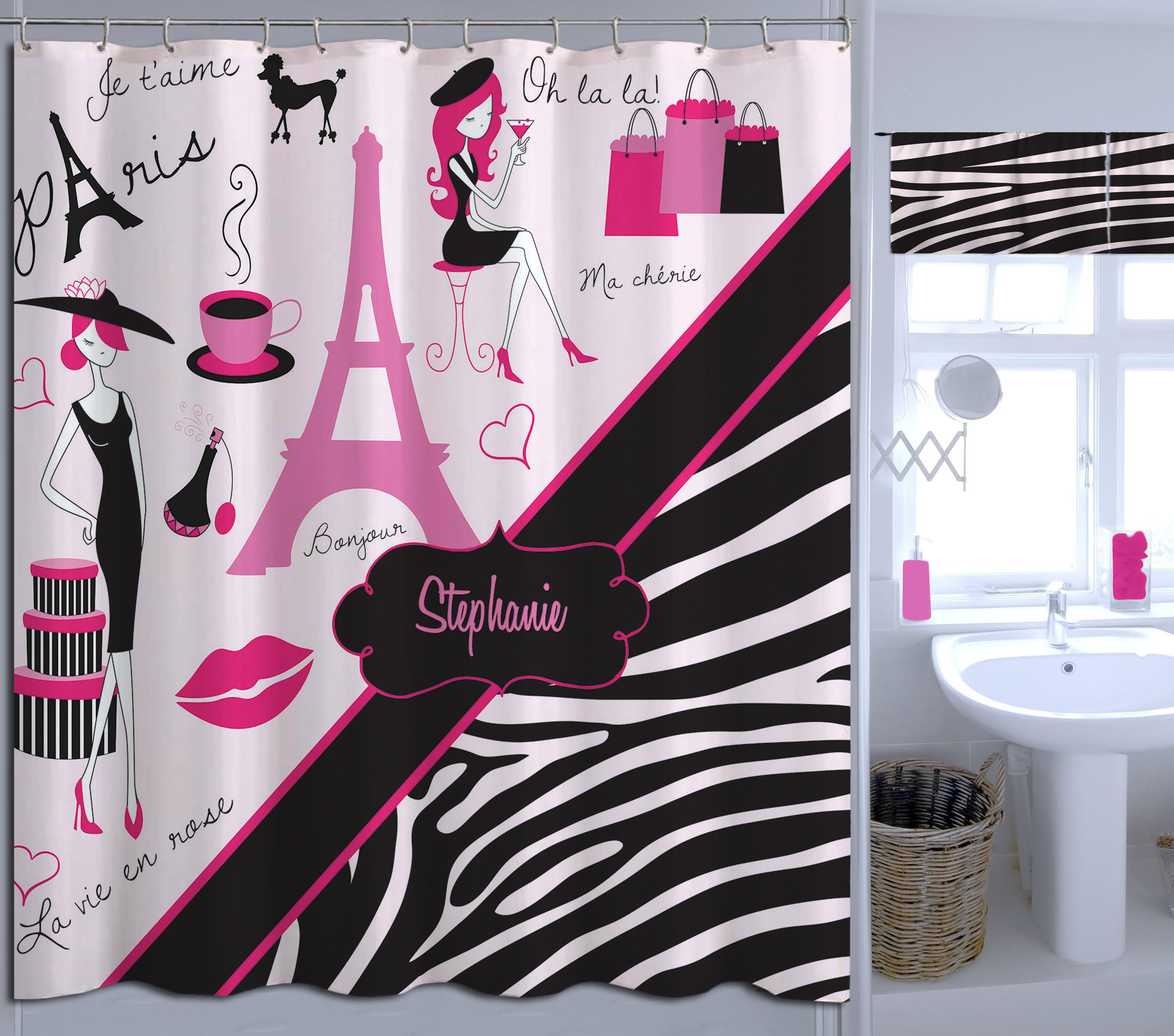 Custom Eiffel Tower Printed Shower Curtain Black Zebra Print Kids Shower Curtain 14 Eloquent