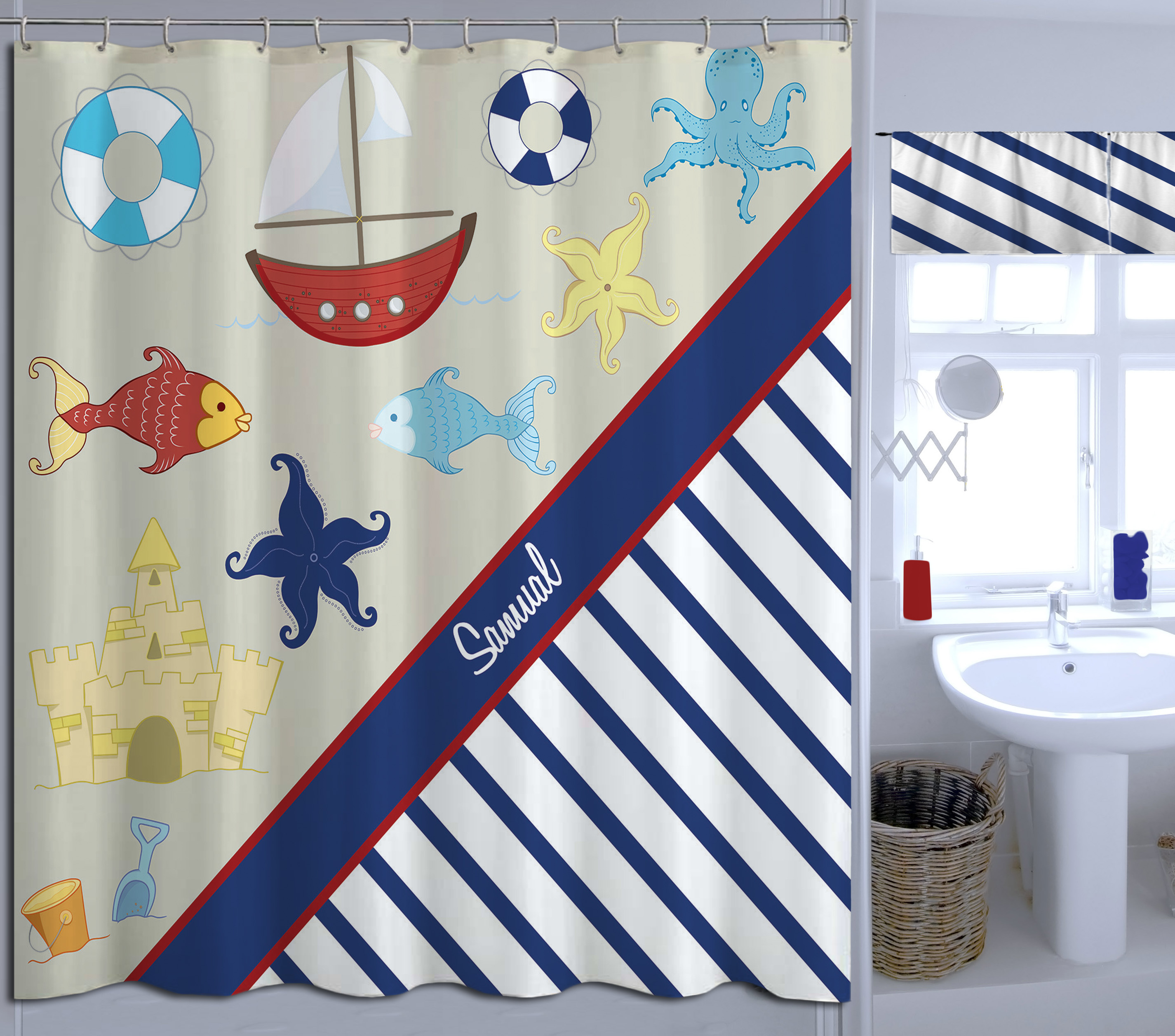 Nautical Navy And White Striped Shower Curtain Extra Long Fabric Curtain For Boys 20