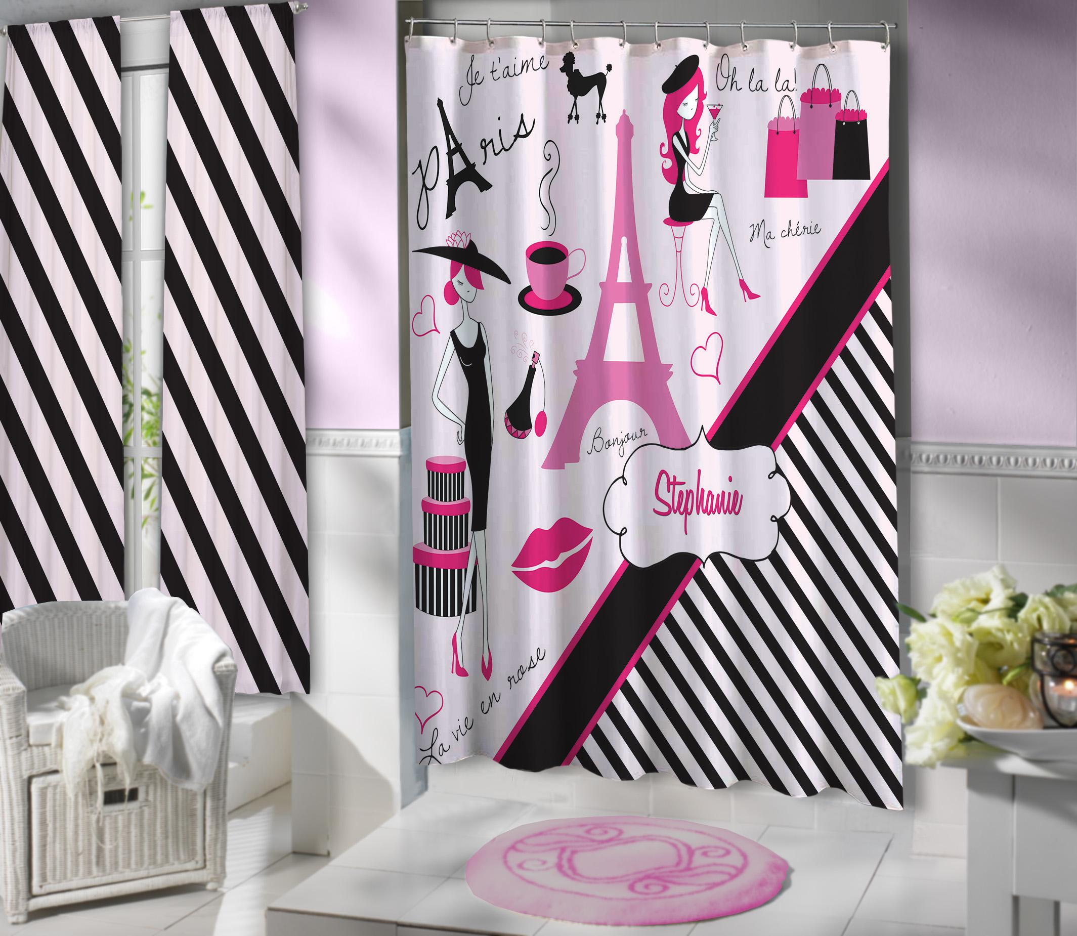 black striped eiffel tower shower curtain paris girls bathroom set 17 eloquent innovations