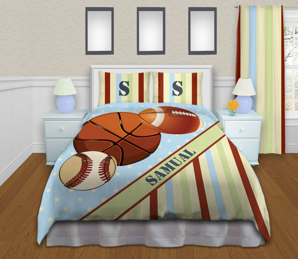 Queen Size Childrens Sports Bedding With Baseball