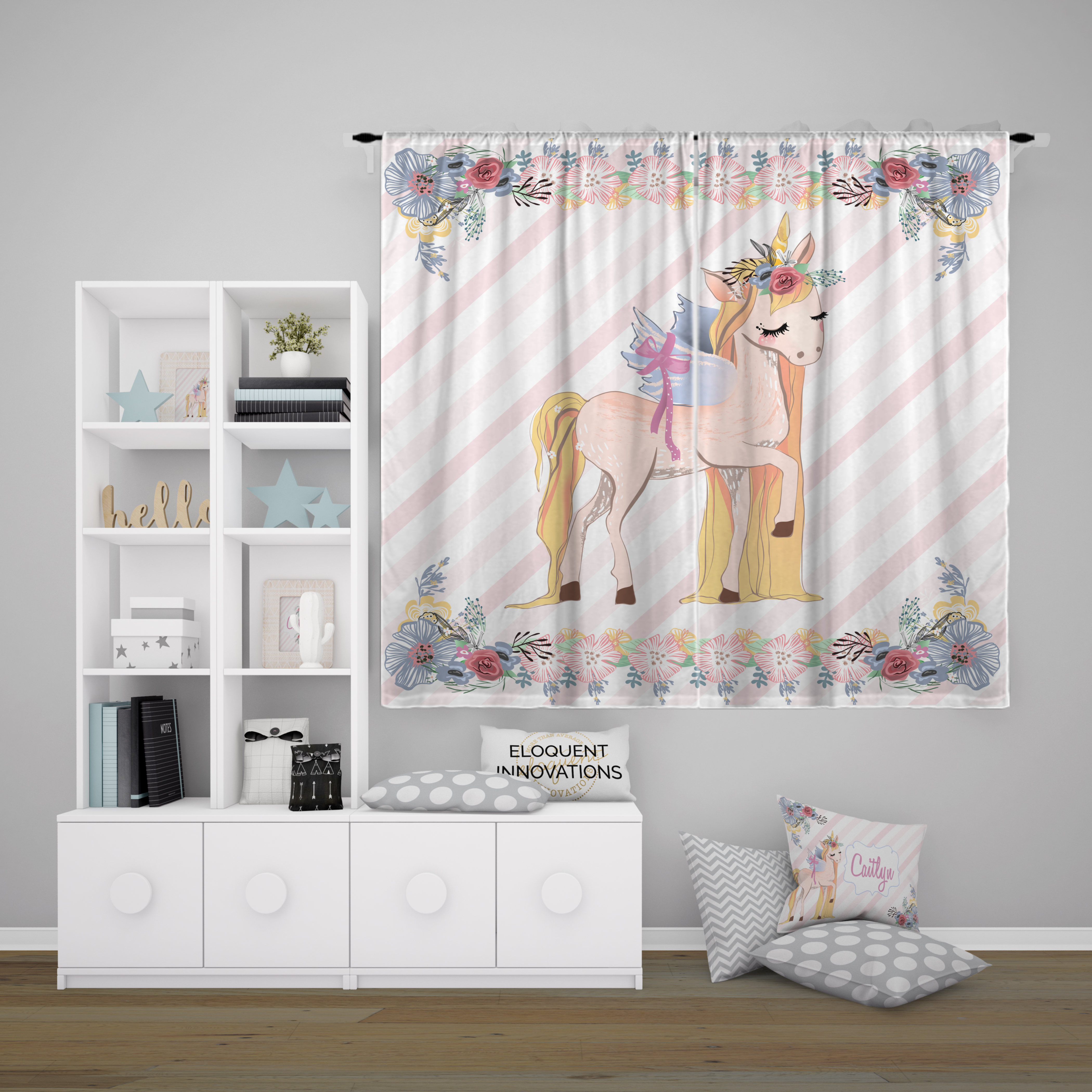 Unicorn Curtains Girls Room Curtains With Flower And Striped Background 421 Eloquent Innovations