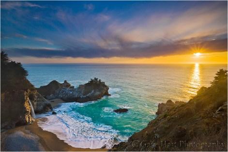 Sunset, McWay Fall, Julia Pfieffer Burns State Park, Big Sur