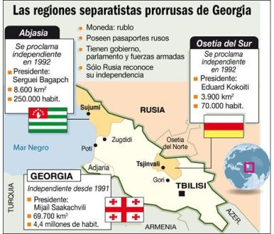 Mapa Georgia Osetia Abjasia