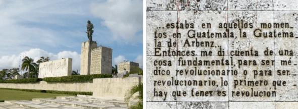 Fotografías del memorial y la citada inscripción