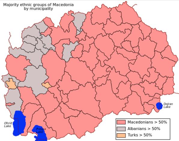 Grupo nacional predominante por municipio. Los datos pertenecen al censo del año 2002. La población albanesa en Macedonia representa, según el mismo censo, último realizado, el 25% del total de la población del Estado.