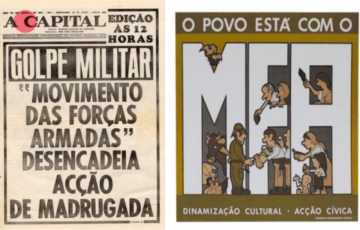 A la izquierda la portada del diario A Capital donde se anuncia la toma de poder por parte del MFA. A la derecha un cartel propagandístico destinado a fortalecer las relaciones entre el MFA y el pueblo portugués