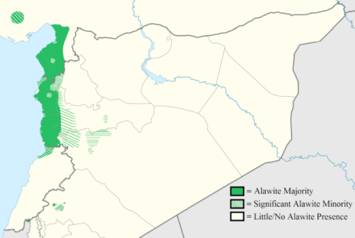 Población alauita en Siria y Turquía. Fuente: Wikicommons
