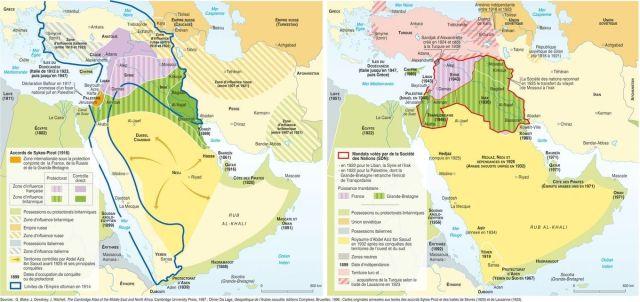 Del reparto inicial de Sykes-Picot a la situación final, varios años después de haber terminado la Primera Guerra Mundial