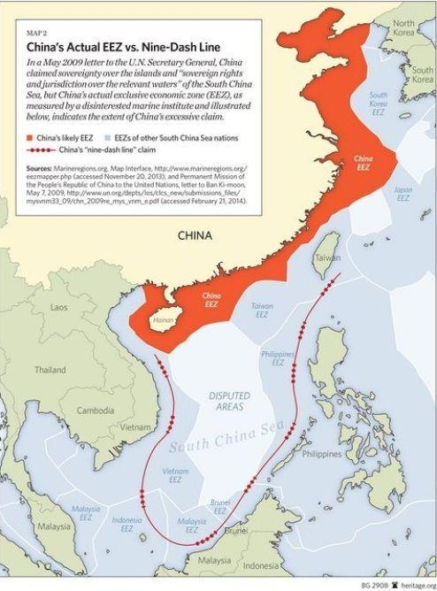 La actual Zona Económica Exclusiva (ZEE en inglés) que actualmente China posee no es la que pretende poseer. Fuente: Heritage Foundation.