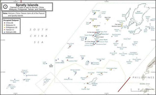 Control de las islas Spratly por los países involucrados. Fuente: http://www.defense.gov/Portals/1/Documents/pubs/NDAA%20A-P_Maritime_SecuritY_Strategy-08142015-1300-FINALFORMAT.PDF#page=20