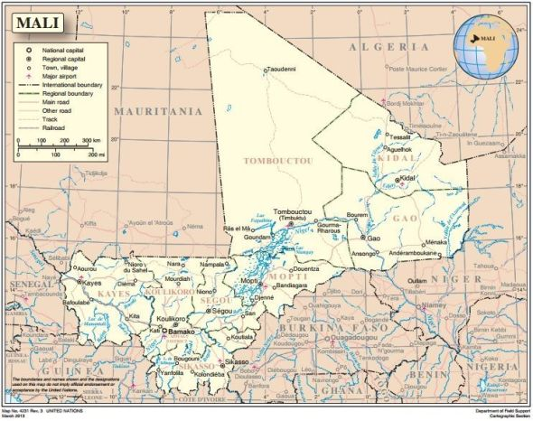 Mapa de Malí. Fuente: Naciones Unidas http://www.un.org/Depts/Cartographic/map/profile/mali.pdf