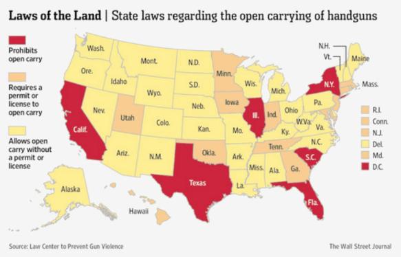Derecho a portar armas en público (2015). En 2016 Texas ha derogado su prohibición y ya permite llevar armas en espacios públicos.