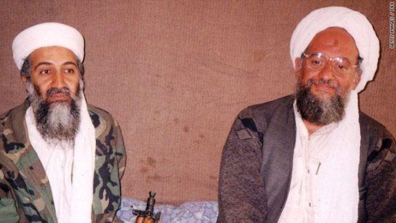 El fundador de al-Qaeda, Osama Bin Laden, y su sucesor, el egipcio Aymán al-Zawahirí
