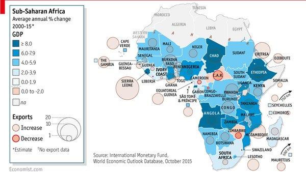 El crecimiento económico durante los primeros 15 años del siglo XXI. Etiopía es uno de los países a la cabeza en el continente. Fuente: The Economist