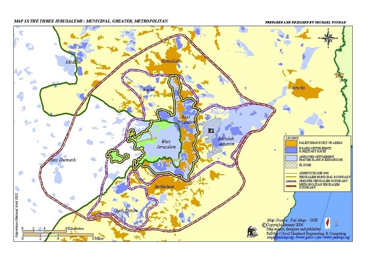 Mapa de la expansión de Jerusalén. Fuente: http://www.palmap.org/