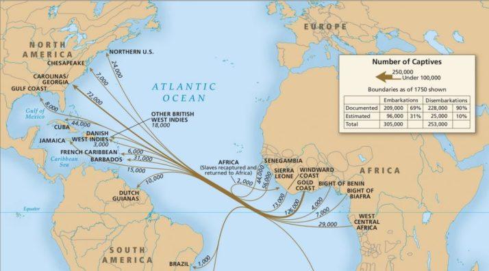 El tráfico de esclavos africanos hacia las colonias americanas se contó por miles, especialmente durante el siglo XVII. Fuente: Slavevoyages
