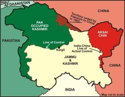 Así quedó partida la zona de Cachemira entre los tres países en liza: India, Pakistán y China. Fuente: