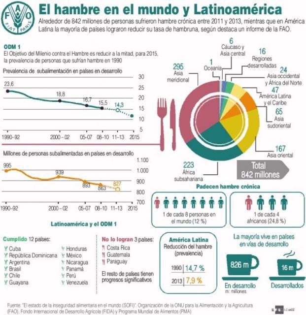 La situación actual del hambre en el mundo y en América Latina. Fuente: EFE
