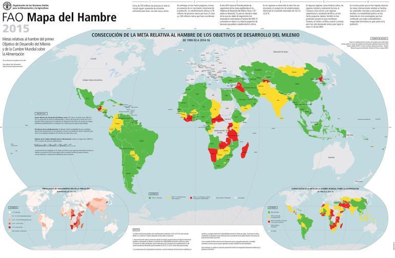 Así han cumplido los distintos países los objetivos para con la erradicación del hambre. Fuente: FAO