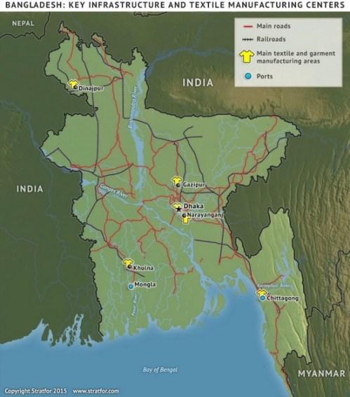 La población, las comunicaciones y la buena posición geográfica hacen de Bangladesh un sitio atractivo para la deslocalización. Stratfor