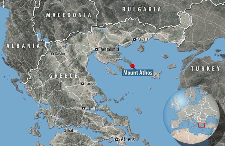 La localización del Monte Athos. Daily Mail