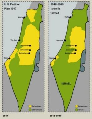 Israel antes (izquierda) y después (derecha) de la Primera Guerra Árabe-Israelí. Fuente: Angry Meditations