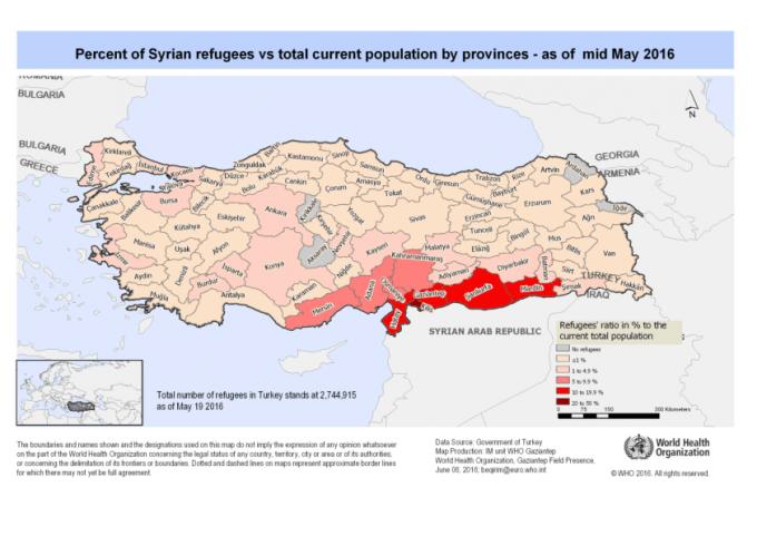Porcentaje de población siria en Turquía por provincias. Fuente: OMS vía ReliefWeb