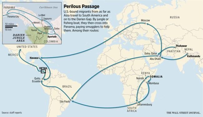 Las rutas hacia Darién. Fuente: Wall Street Journal