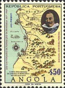 Sello editado durante la república portuguesa; en la parte superior, se puede ver cómo se recoge la localidad de Uige. Fuente: Dan's Topical Stamps