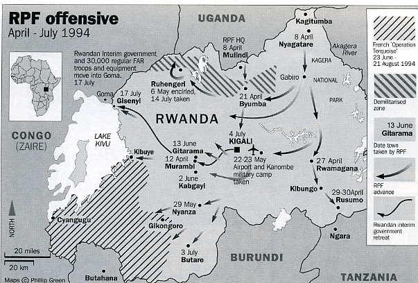 El FPR contraatacó el genocidio desde el norte del país, conquistando el este para llegar hasta Kigali y desplazar a los hutus al oeste. Fuente: Prezi