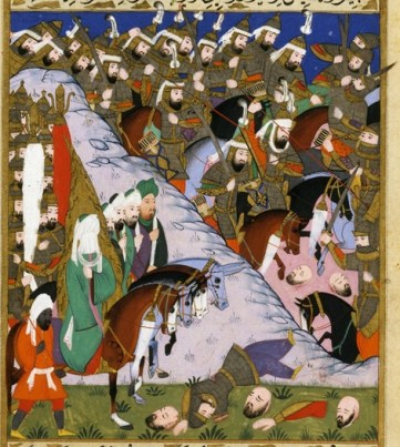 Miniatura otomana que muestra la batalla de Uhud, siglo XVI. Fuente: Warfare