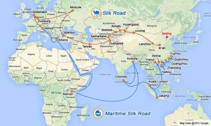 Mapa de las rutas terrestre y marítima de OBOR. No se debe entender como una línea geográfica concreta, sino como un indicador general de los enlaces. Fuente: Xinhua