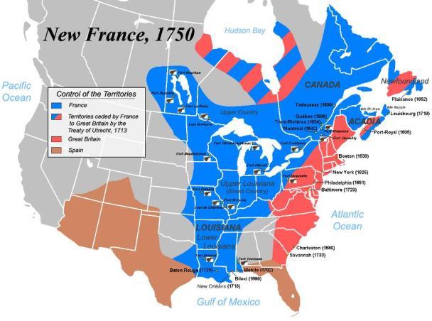El control de territorio americano por parte de Francia era muy extenso —llegaba incluso hasta Nueva Orleans, en EE. UU.—, mientras que Gran Bretaña manifestaba escasamente su dominio sobre las trece colonias del este. Fuente: Virginia Places